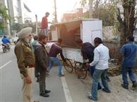 शिकायत के बाद भूपिदरा रोड से हटाए अवैध कब्जे