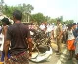 प्रतापगढ़-जौनपुर हाईवे पर टैंकर और कार की आमने-सामने टक्कर, एक की मौत-एक जख्मी