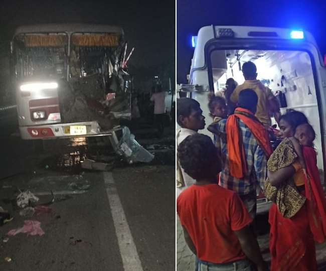 Bus carrying migrant workers from Haryana to Bihar collided with truck in  Delhi Chandigarh national highway and 20 serious