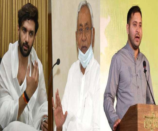 सांसद चिराग पासवान, बिहार के सीएम नीतीश कुमार और राजद विधायक तेजस्वी यादव। जागरण आर्काइव।