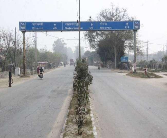 मेरठ रोड को फोर और सिक्स लेन में बदलने काम हो रहा।