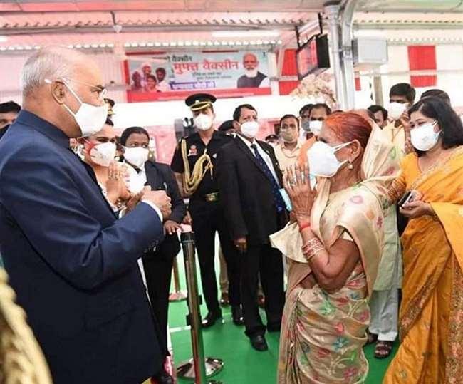 झींझक रेलवे स्टेशन पर घरवालों ने राष्ट्रपति से मुलाकात की।