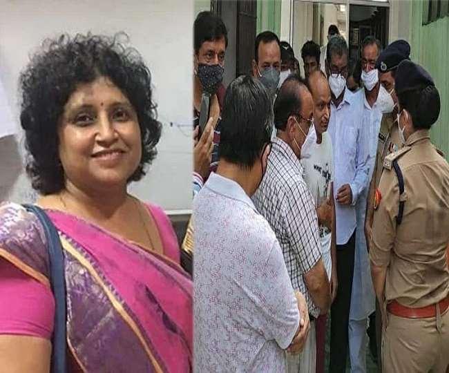 वंदना मिश्रा की फाइल फोटो और उनके अंतिम संस्कार में माफी मांगने के लिए पहुंचे कानपुर पुलिस कमिश्नर असीम अरुण।