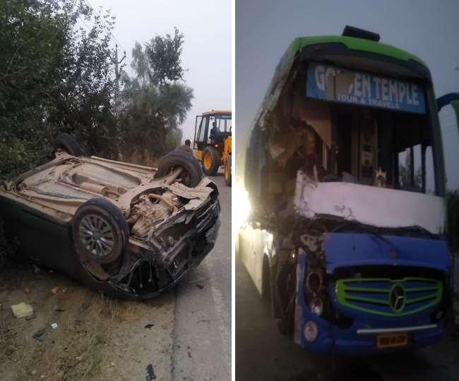 करनाल में भीषण हादसा, बस, ट्राले और कार में भिड़ंत, एक की मौत, आठ घायल Panipat News