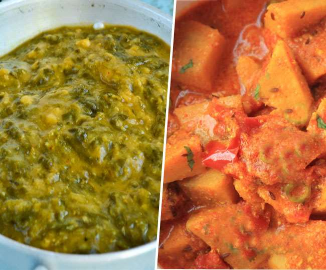 जिमीकंद का पारंपरिक स्वाद के साथ पालक की दाल की सब्जी।