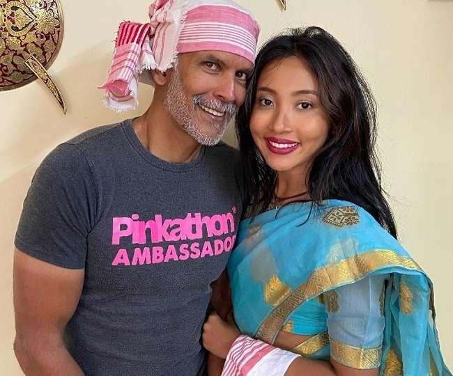 अभिनेता मिलिंद सोमन और उनकी पत्नी अंकिता कोंवर, , Instagram : milindrunning