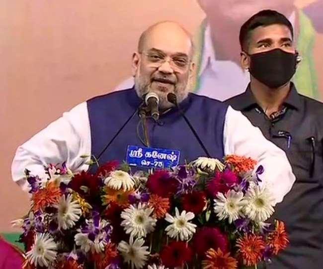 केंद्रीय गृह मंत्री अमित शाह ने रविवार को तमिलनाडु के विलिपुरम में विजय संकल्प यात्रा रैली को संबोधित किया।