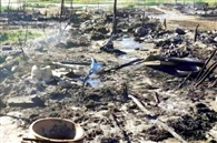 कोसी नदी खनन क्षेत्र में लगी आग, 11 झोपड़ियां नष्ट