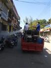 सेनिटाइज करने को फायरकर्मी उतरे सड़कों पर