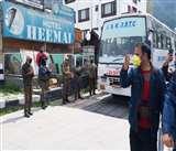 Coronavirus: लेह से लौटे 78 लोगों को क्वारंटाइन की समयावधि पूरी होने पर घर भेजा