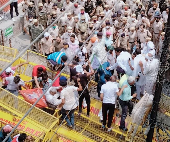 Farmers Protest again BJP meeting.