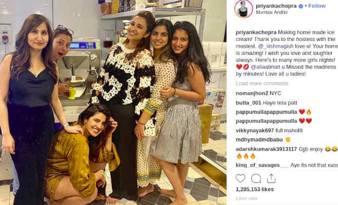 तस्वीरें: प्रियंका ने ईशा अंबानी के घर में अपने हाथों से बनाई आइसक्रीम,कहा आलिया 'यू मिस्ड इट'