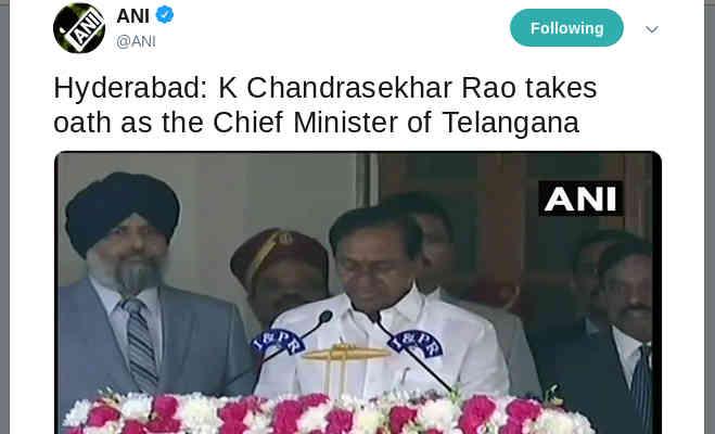 तेलंगाना में केसीआर ने ली मुख्यमंत्री पद की शपथ,दूसरी बार बने सीएम