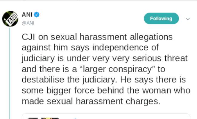 यौन शोषण के आरोप पर cji रंजन गोगोई बोले,ज्यूडिशरी की अाजादी को खतरा