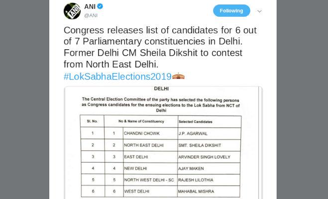 शीला दीक्षित नॉर्थ-ईस्ट दिल्ली से लड़ेंगी चुनाव,कांग्रेस ने राजधानी की 6 सीटों के लिए उतारे ये उम्मीदवार