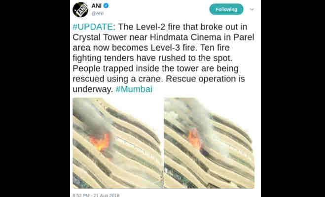 मुंबई के क्रिस्टल टावर में लगी भीषण आग,क्रेन के जरिए फंसे लोग निकाले रहे बाहर