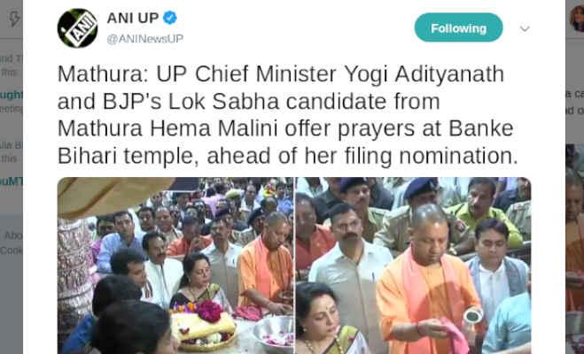 हेमा मालिनी ने नामांकन भरने से पहले सीएम योगी संग बांके बिहारी मंदिर में की पूजा-अर्चना