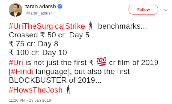 box office collection: 'उरी' पहुंची 100 करोड़ के इतने पास,'वाय चीट इंडिया' हो गई फ्लाॅप