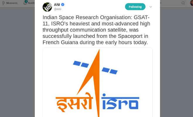 isro ने देश का सबसे वजनी सेटेलाइट जीसैट-11 भेजा अंतरिक्ष,इंटरनेट की बढ़ेगी रफ्तार
