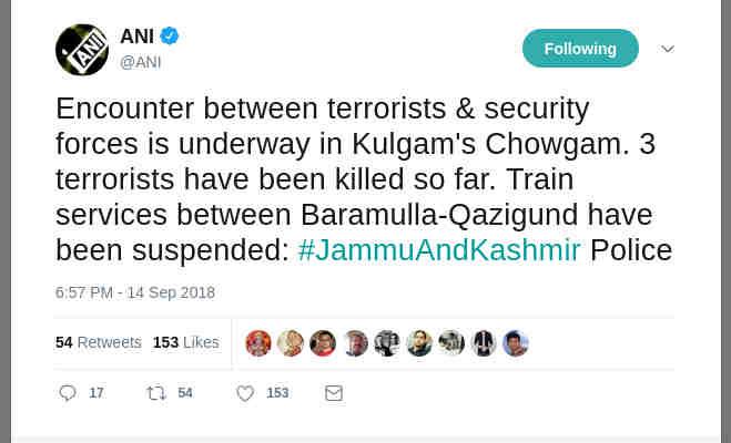जम्मू-कश्मीर : सुरक्षाबलों ने मार गिराए तीन आतंकी,रोकी गर्इ ट्रेनें सर्च आॅपरेशन जारी