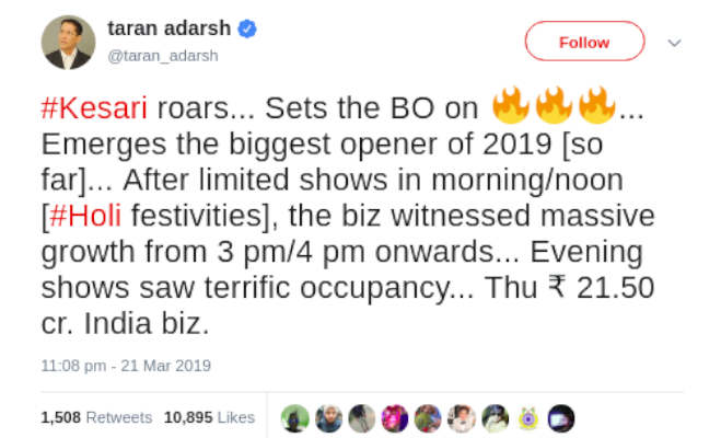 box office collection: 'केसरी' ने बनाया 2019 की सबसे बड़ी ओपनिंग का रिकॉर्ड,पहले दिन कर डाली इतनी कमाई