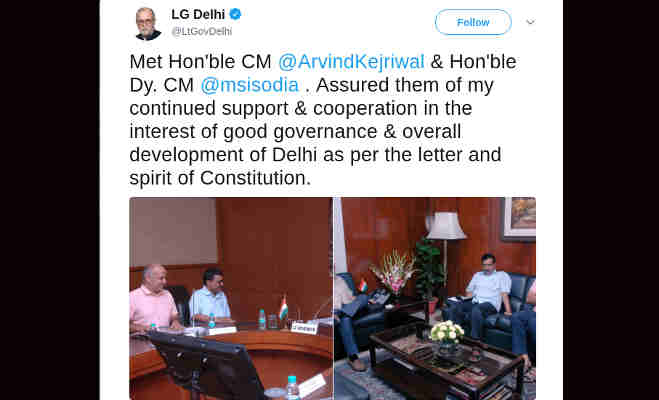 सीएम केजरीवाल से मीटिंग के बाद lg बैजल ने ट्वीट कर दिया भरोसा,इन दो चीजों में रहेगा सपोर्ट
