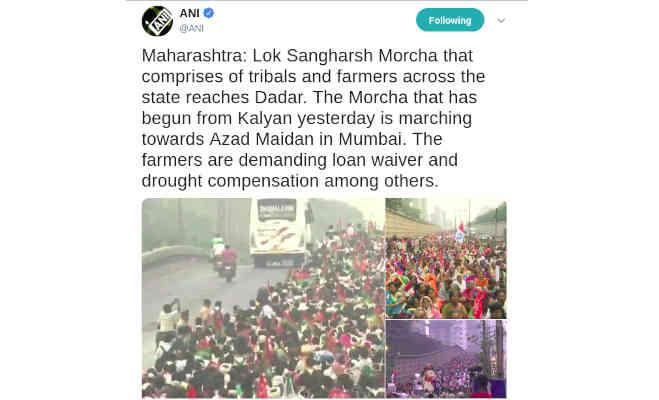 महाराष्ट्र : मुंबर्इ में हजारों किसान कर रहे विराेध-प्रदर्शन,ये हैं अन्नदाताआें की मांगे