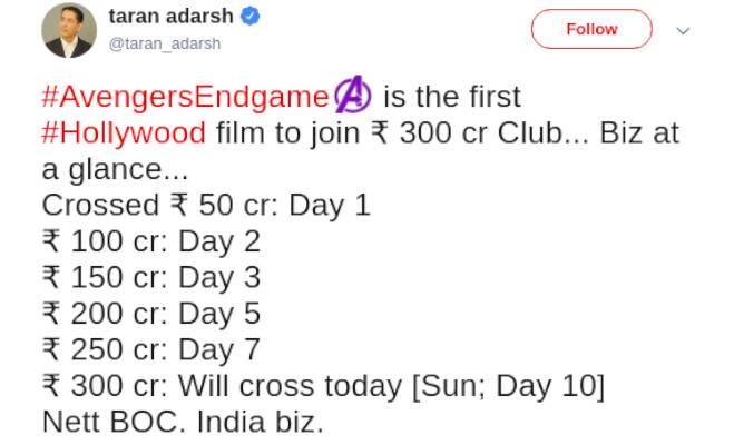 box office collection: 'एवेंजर्स एंडगेम' पहुंची 300 करोड़ पार,ये काम करने वाली बनी पहली हाॅलीवुड फिल्म