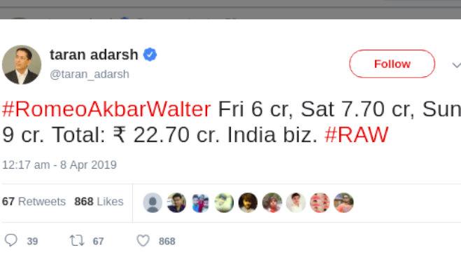 box office collection: 'राॅ' ने धीरे से तीन दिन में कमाए इतने करोड़,'जंगली' का खाता बंद 'केसरी' नाबाद