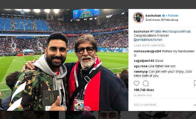 अमिताभ बच्चन बेटे अभिषेक संग स्टेडियम में ले रहे फीफा वर्ल्ड कप के मजे,देखें तस्वीरें
