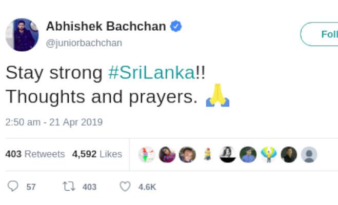 श्रीलंका में हुए धमाकों से दहला बाॅलीवुड भी,अभिषेक से लेकर अनुष्का तक इन सेलेब्स की आंखे नम