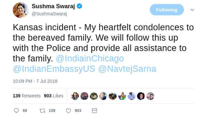 अमेरिका के एक रेस्तरां में भारतीय इंजीनियर छात्र की गोली मारकर हत्या,सुषमा स्वराज ने जताया दुख