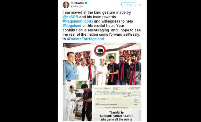 सुशांत ने केरल के बाद नागालैंड के बाढ़ पीडि़तों को दिए सवा करोड़ रुपये,सीएम नेफ्यू से किया ये वादा
