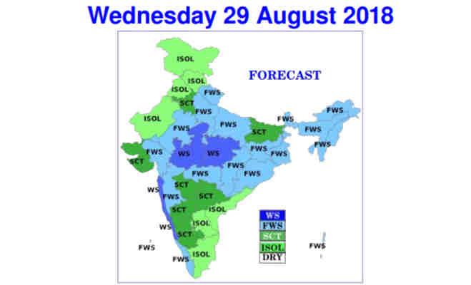उत्तर आैर मध्य भारत में आज भारी बारिश के आसार,जानें पूरे देश का हाल