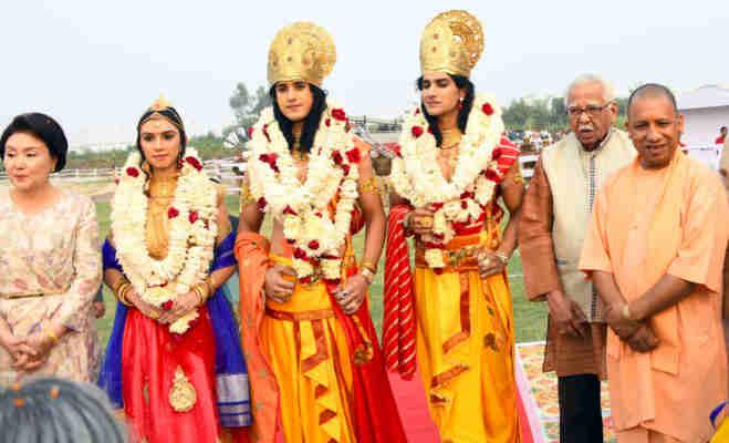 अयोध्या में दिखी अतिथि देवो भव की परंपरा,हेलीकॉप्टर से आए राम लक्ष्मण आैर सीता