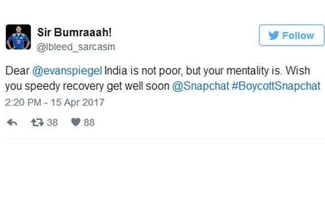 स्नैपचैट के सीईओ ने भारत को कहा गरीब,लोगों का फूटा गुस्सा