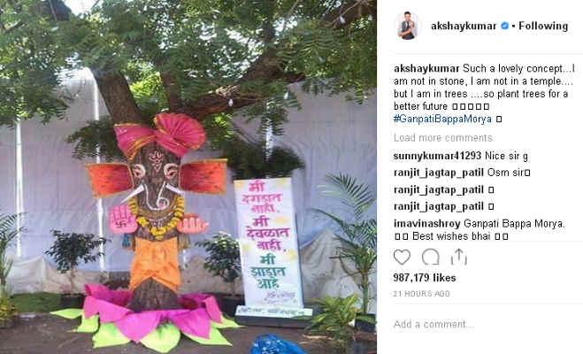 अक्षय कुमार ने इस क्रिएटिव अंदाज में किया गणपित स्वागत,दिया ये खास संदेश