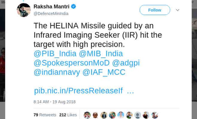 स्मार्ट एंटी एयरफिल्ड वेपन व मिसाइल हेलिना का पोखरण में सफल परीक्षण,रक्षामंत्री ने दी बधार्इ