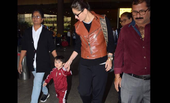 तस्वीरें: नए लुक में नन्हें तैमूर,छुट्टियां बिता कर मां करीना के साथ घर लौटे