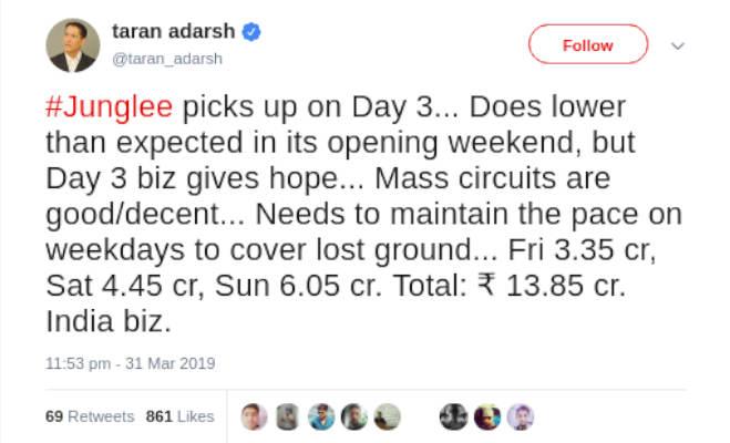 box office collection: 11वें दिन भी 'केसरी' शानदार,'जंगली' और 'नोटबुक' का हुआ ये हाल
