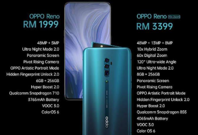 oppo reno and reno 10x zoom launch : जानें दमदार फीचर्स और दाम