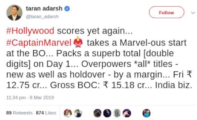 box office collection: पहले दिन 'बदला' पर भारी पड़ी 'कैप्टन मार्वल',जानें कितनी की कमाई