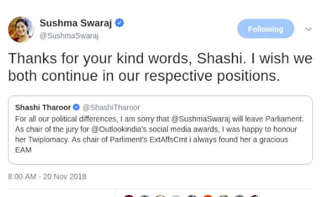 चुनाव नहीं लड़ेंगी लेकिन राजनीति से रिटायर नहीं हो रही सुषमा स्वराज,जानें क्यों शशि थरूर को कहा धन्यवाद