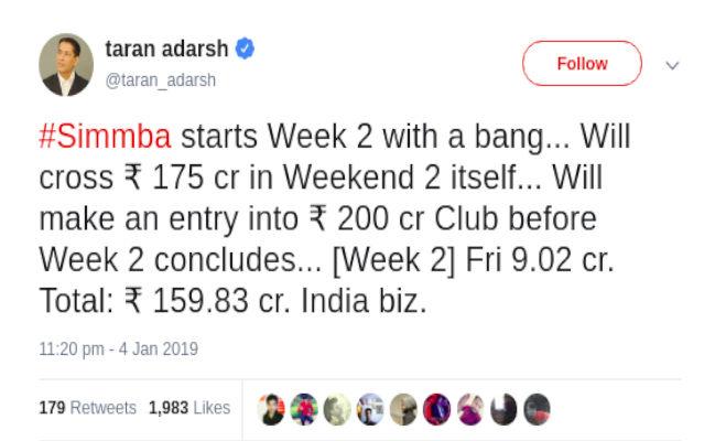 box office collection: सिर्फ 8 दिनों में 'सिंबा' ने लाई पैसों की बाढ़,जल्द तोड़ सकती है कमाई का ये रिकार्ड