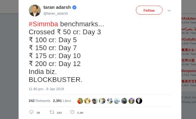 box office collection: सिर्फ 12 दिनों में 'सिंबा' की कमाई 200 करोड़ पार,तोड़ डाले ये बड़े रिकाॅर्ड