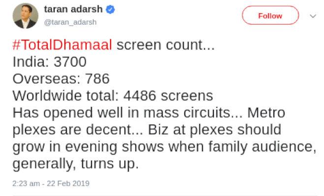 box office collection: 'टोटल धमाल' ने पहले दिन ही कमाए इतने करोड़,'गली ब्वाॅय' पर पड़ा ये असर