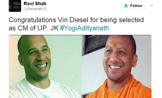 और योगी के यूपी सीएम बनते ही twitter पर विन डीजल को मिलने लगी बधाइयां,जानें क्यों...