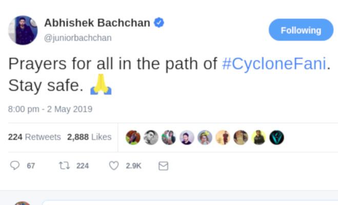 fani cyclone से प्रभावितों के लिए सेलेब्स ने ट्विटर पर की दुआ