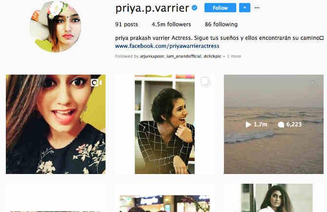 इंटरनेट सनसनी प्रिया वॉरियर ने सोशल मीडिया पर मार्क जुकरबर्ग को भी पीछे छोड़ा!