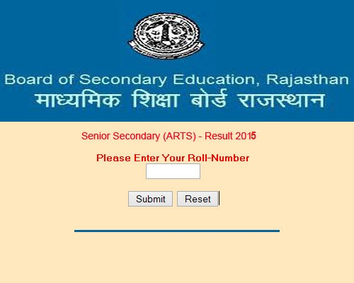 RBSE/BSER 12th Results 2015 - Rajasthan Board Class 12th Arts